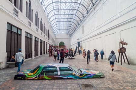 MERIDA, MEXICO - FEB 27, 2016: Alley with contemporary art in Merida, Mexico 에디토리얼