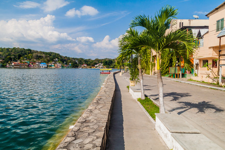 Lakeside promenade in Flores, Guatemala Stock Photo