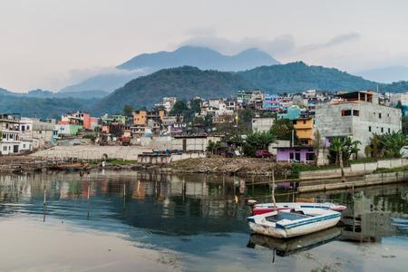 View of Santiago Atitlan village, Guatemala Editorial