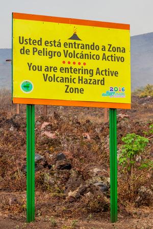 Information board near Telica volcano, Nicaragua Editorial