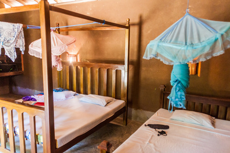 UDA WALAWE, SRI LANKA - JULY 13, 2016: Interior of a room in a cabin in a tourist resort near Udawalawe National Park.
