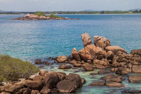 Boulders around the coast of Pigeon Island near Nilaveli village in Sri Lanka