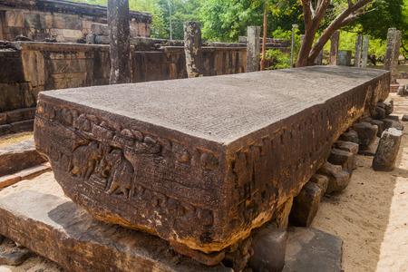 Gal Pota (Stone Book) at the ancient city Polonnaruwa, Sri Lanka