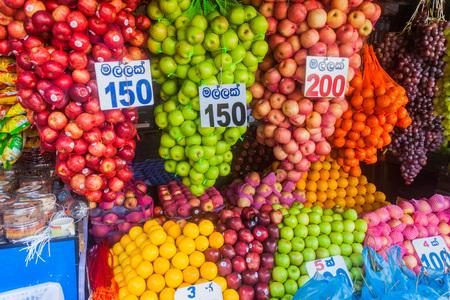 COLOMBO, SRI LANKA - JULY 26, 2016: Frutis for sale at a market in Colombo, Sri Lanka Editorial