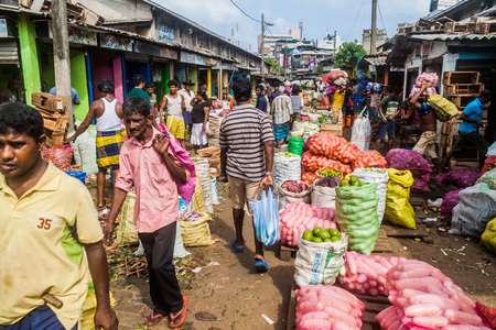 COLOMBO, SRI LANKA - JULY 26, 2016: Shoppers and vendors at Manning Market in Colombo, Sri Lanka