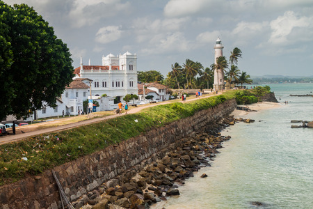 GALLE, SRI LANKA - JULY 12, 2016: Fortification sea walls of Galle Fort.