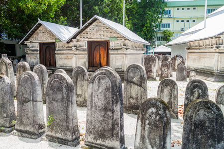 Cemetery of Old Friday Mosque (Hukuru Miskiiy) in Male, Maldives Foto de archivo