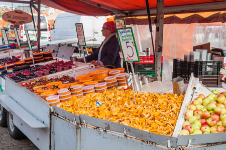 HELSINKI, FINLAND - AUGUST 25, 2016: Fresh fruit and mushrooms stall at Kauppatori (Market Square) in Helsinki