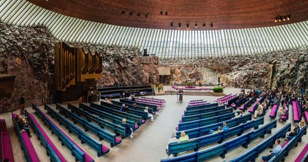 HELSINKI, FINLAND - AUGUST 25, 2016: Interior of Temppeliaukion Church (known also as Rock Church) in Helsinki, Finland