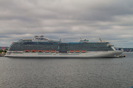 TALLINN, ESTONIA - AUGUST 24, 2016: MS Regal Princess (Royal-class cruise ship operated by Princess Cruises) in a harbor in Tallinn.