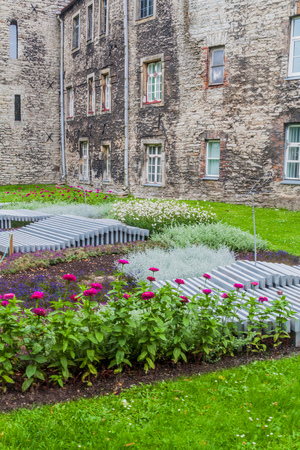 Decoration of Tornide valjak (Tower square) and fortification walls of the Old Town in Tallinn, Estonia