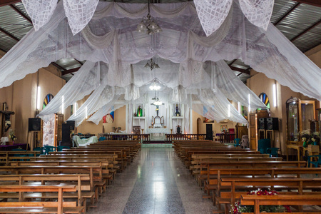 SAN MARCOS LA LAGUNA, GUATEMALA - MARCH 24, 2016: Interior of a church in San Marcos La Laguna village, Guatemala