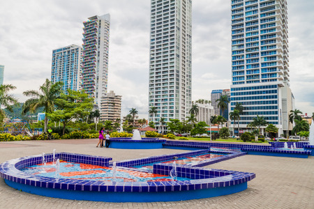 PANAMA CITY, PANAMA - MAY 30, 2016:View of fountains in a costal park near Cinta Costera road in Panama City Editorial