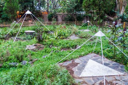 SAN MARCOS LA LAGUNA, GUATEMALA - MARCH 24, 2016: Garden of the meditation center Las Piramides del Ka in San Marcos La Laguna village.