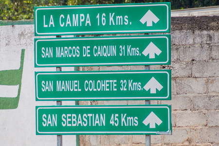 Roadsign in Gracias town, Honduras. It is pointing to various small villages nearby.
