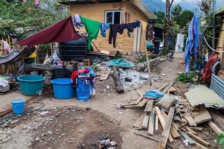 SAN MARCOS LA LAGUNA, GUATEMALA - MARCH 24, 2016: View of the yard of Pachamama hostal in San Marcos La Laguna village. Editorial