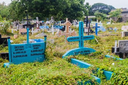 TRINCOMALEE, SRI LANKA - JULY 23, 2016: View of a cemetery in Trincomalee, Sri Lanka