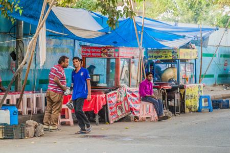DELHI, INDIA - OCTOBER 24, 2016: Street food stalls in Delhi, India.