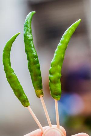 Chilli pepper on sticks in Kolkata, India