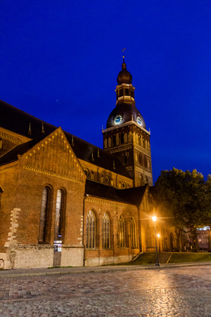 Evangelical Lutheran cathedral in Riga, Latvia Stok Fotoğraf