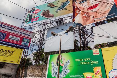 KOLKATA, INDIA - OCTOBER 31, 2016: Wall of posters and billbards in the center of Kolkata, India