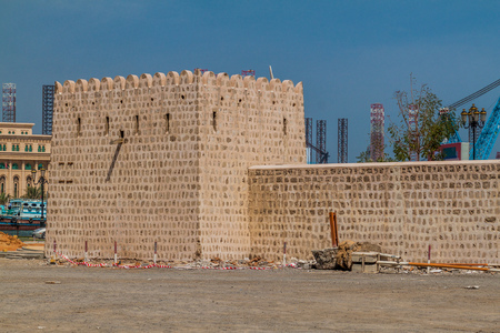 Old fortification wall at the Heritage Area in Sharjah, UAE Stock Photo
