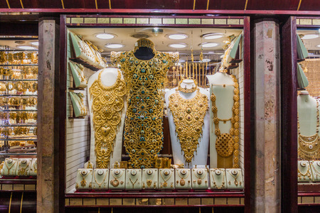 DUBAI, UAE - MARCH 10, 2017: Jewellery shop at the Gold Souq in Deira neighborhood of Dubai, United Arab Emirates