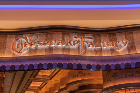 DUBAI, UAE - MARCH 10, 2017: Cheesecake Factory restaurant sign in the Dubai Mall, one of the largest malls in the world.
