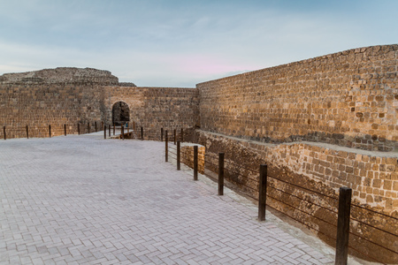 Gate of Bahrain Fort (Qalat al-Bahrain) in Bahrain Stock Photo