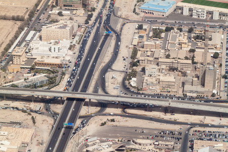 Aerial view of a highway in Kuwait city