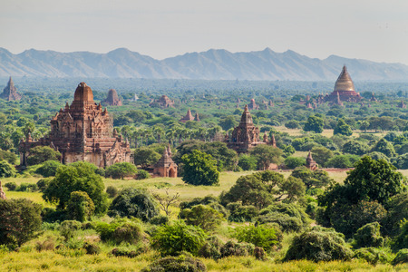 Skyline of Bagan temples, Myanmar.