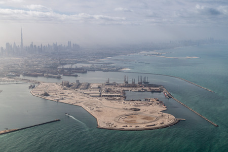 Aerial view of a port in Dubai, United Arab Emirates