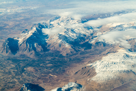 Aerial view of mountains near Khorramabad, Iran