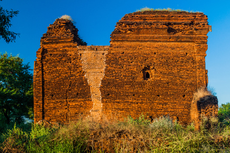 Temple in Bagan damaged by an erthquake and renovated, Myanmar
