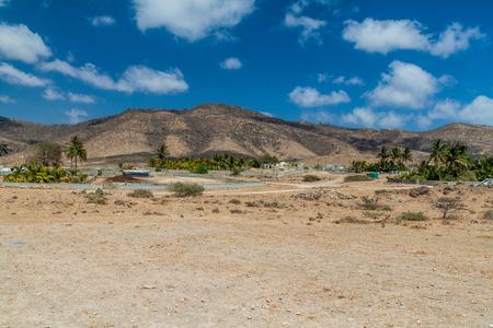 Small village at Wadi Dharbat near Salalah, Oman 版權商用圖片