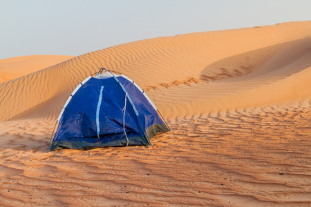 Tent in the dunes of Wahiba Sands (Sharqiya Sands), Oman 版權商用圖片