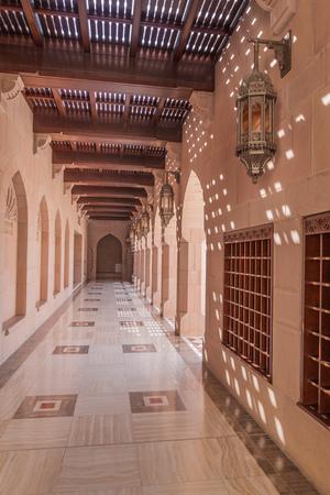 Walkway of Sultan Qaboos Grand Mosque in Muscat, Oman