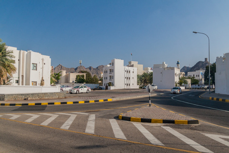 MUSCAT, OMAN - FEBRUARY 22, 2017: Road intersection in Old Muscat, Oman Stock Photo