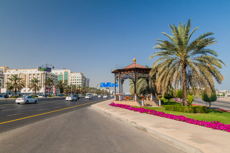 MUSCAT, OMAN - FEBRUARY 22, 2017: Traffic on Sultan Qaboos street in Muscat, Oman