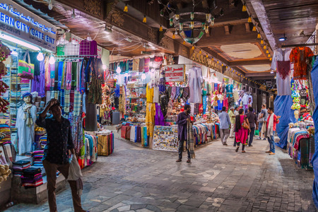 MUSCAT, OMAN - FEBRUARY 23, 2017: Shops of Muttrah souq in Muscat,