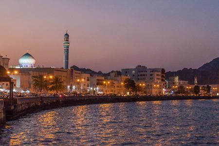 Night view of Mutrah Corniche in Muscat, Oman