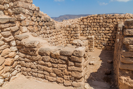 Sumhuram Archaeological Park with ruins of ancient town Khor Rori near Salalah, Oman Standard-Bild