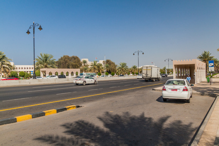 MUSCAT, OMAN - FEBRUARY 21, 2017: Traffic on Sultan Qaboos street in Muscat, Oman