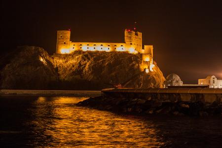 Night view of Al Jalali Fort in Muscat, Oman