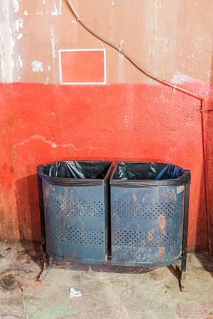 Garbage bin in Muttrah souq in Muscat, Oman