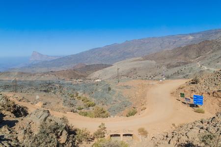 Unpaved road in Hajar Mountains, Oman