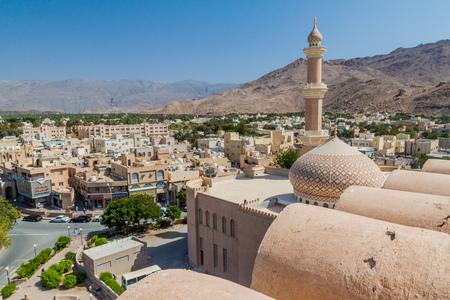 NIZWA, OMAN - MARCH 3, 2017: Aerial view of Nizwa with Sultan Qaboos Mosque, Oman
