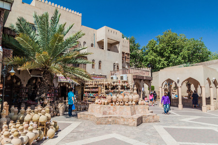 NIZWA, OMAN - MARCH 3, 2017: Pottery shops at the Souq in Nizwa, Oman