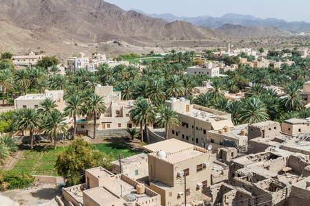 Aerial view of Bahla town, Oman