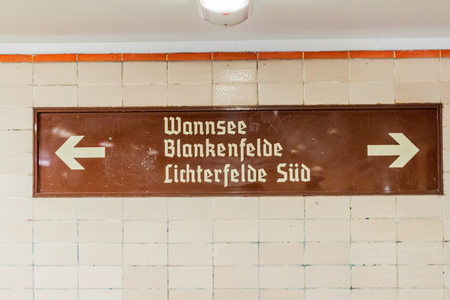 Direction signs at Nordbahnhof train station in Berlin, Germany
